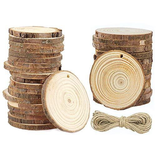 Naturholzscheiben mit Löchern - EMITEC 30 Stück 5,1-6,4 cm unlackiert, vorgebohrte Holzscheiben für Tafelaufsätze Untersetzer Weihnachten Ornamente DIY Handwerk Party Hochzeit Dekoration