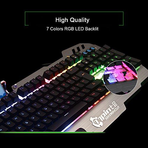 Normia Rita 104 klicken Mechanische Spiel Tastatur, Hintergrundbeleuchtung RGB LED Gaming-Tastatur, Beleuchtete Mechanical Keyboard mit Handy Halter - Aluminum Metall GunMetal Grau - 3