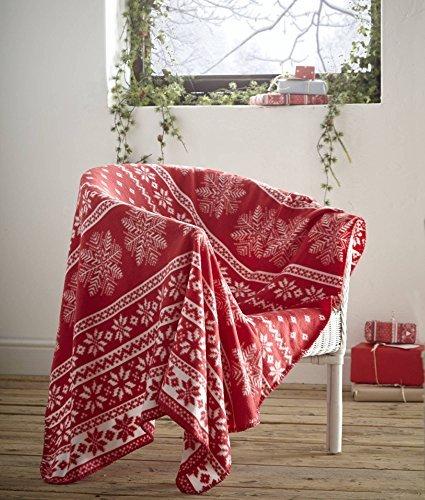 Fleece Blanket Alpine Red, Nordic Christmas Snowflake Theme Throw, 120cm x 150cm by Festive...