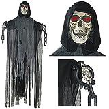 Prextex - Cráneo Esqueleto Colgante Animado de 152 cm con Grilletes y Cadenas Para la Mejor Decoración de Halloween