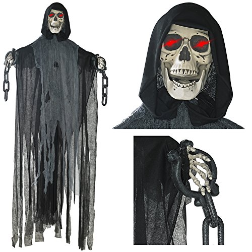 Prextex 152cm animierter hängender Grim Reaper mit Schädel und Kettenfesseln für die gruseligste Dekoration zu (Roben Reaper Grim)