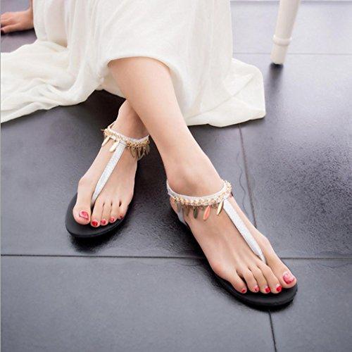 DM&Y 2017 paillettes stile europeo e americano perline sandali romani dei sandali di modo Bohemian selvatico Silver