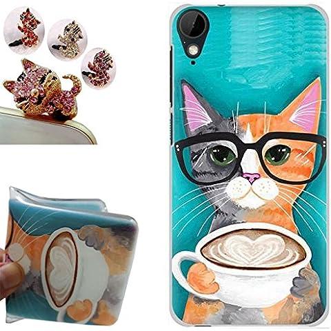 HTC Desire 825 Custodia,HTC Desire 825 Cover, Gallery88 [Tappi Anti-polvere] Custodia in TPU Gel Silicone Case per HTC Desire 825 -(Gatto con gli occhiali)