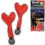 matches21 Herzluftballons mit Beleuchtung 2er Set rot Luftballon LED beleuchtet - Geburtstag Valentinstag Hochzeit