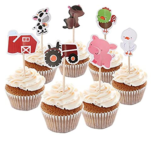 BABEYOND Zoo Animal Mermaid Pirate Cupcake Topper Picks with Stickers Appetizer Decorations For Birthday Baby Shower Party Favors 24 Pack (Domestic animal)
