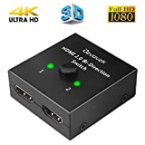 Ozvavzk HDMI Switch 2 in 1 Out Bi-Direction HDMI Splitter 1 in 2 Manuell HDMI Switcher Unterstützung HD 4K 3D 1080P für Xbox / PS4 / HDTV / Blu-Ray/ DVD