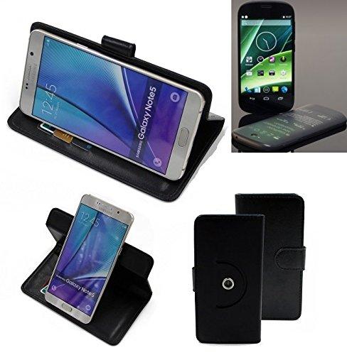K-S-Trade® Case Schutz Hülle Für -Yota YotaPhone 2- Handyhülle Flipcase Smartphone Cover Handy Schutz Tasche Bookstyle Walletcase Schwarz (1x)