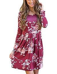 Mujer Floral Largos Vestidos de Manga Larga Cuello en Redondo Falda de Fiesta Loose Vestido de