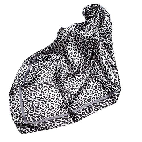 MYWEIJ Ethnische Frauen Faux Silk Elegante Shaw Square Schal Vintage Leopard Print Office Halstuch Double Sided Print Handtasche Wrap -