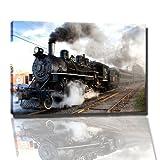 Dampf Eisenbahn Bild auf Leinwand -- 80 x 60 cm fertig gerahmte Kunstdruckbilder als Wandbild - Billiger als Ölbild oder Gemälde - KEIN Poster oder Plakat