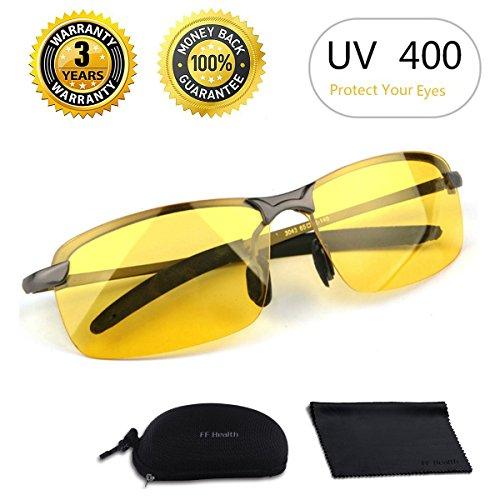 Preisvergleich Produktbild Nachtsichtbrille / Blendschutz Nachtfahrbrille - HD Halbrand / Polarisiert / Ultra Light Metall / Gewidmet Nachtbrille
