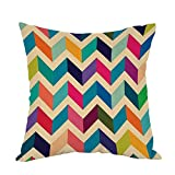 Chevron Pillow,Home Decor Throw Pillow Cover Multicoloured Zig Zag Plain Cotton Linen Cushion for Couch/Sofa/Bedroom/Livingroom/Kitchen/Car 18 x 18 inch Square Pillow case