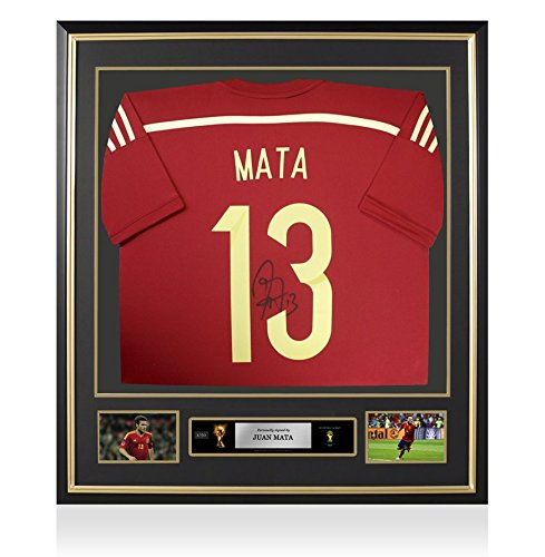 PRE-FRAMED-Juan-Mata-Official-Official-FIFA-World-Cup-Signed-Spain-2014-Home-Shirt