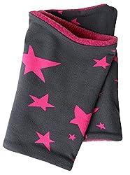Wollhuhn Warmes Halstuch, Zaubertuch, Schlupfschal, Schal Sterne anthrazit/pink für Mädchen, Innenseite aus Fleece, 20160606