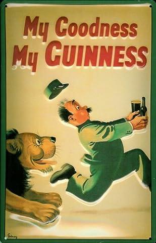 Affiche métallique avec inscription suivi guinness lion style beer publicité
