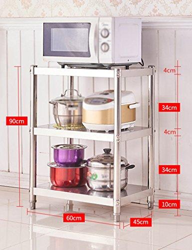 HWF Etagères de cuisine Étagère de cuisine 3 couches four à micro-ondes étagères étagères de rangement en acier inoxydable (taille : 90 * 60 * 45cm)