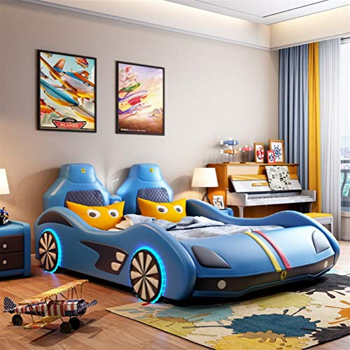 ZXM cama for el automóvil madera sólida de múltiples funciones de los niños corriendo torno niño única niña de dibujos animados cinturón de cuero creativa Cuna con colchón, equipo de música, luces LED