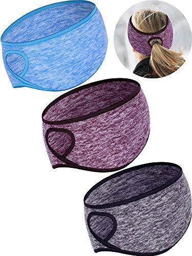 3 Stücke Fleece Pferdeschwanz Stirnband Earband Winter Laufen Stirnband Ohrwärmer Stirnband für Frauen Mädchen Outdoor Sports und Fitness (Farbe Satz 2)