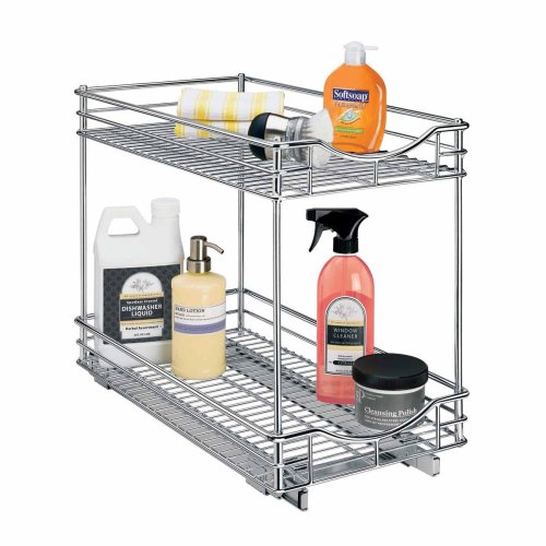 Lynk Professional Roll Out Double Shelf - Pull Out Two Tier Sliding Under Cabinet Organizer - Chrome - Multiple Sizes