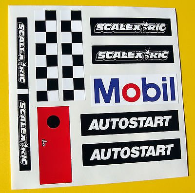 CIRCUIT ROUTIER ÉLECTRIQUE SCALEXTRIC 1/32nd style vintage AUTOSTART reproduction autocollants