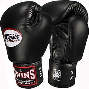 TWINS Boxhandschuhe, Leder, schwarz, Muay Thai, leather boxing gloves, MMA...