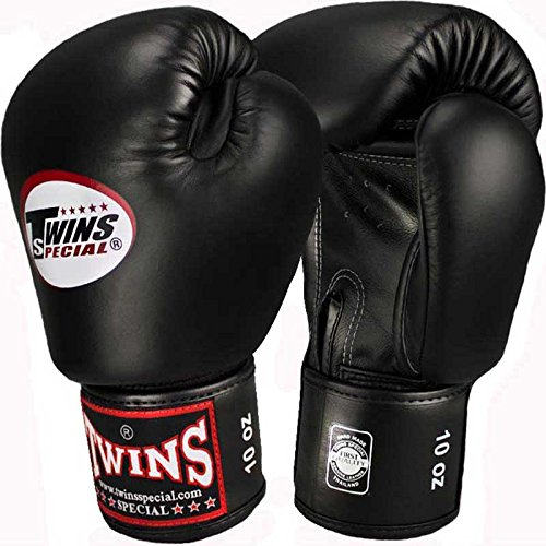 Twins Boxhandschuhe, Leder, schwarz, Muay Thai, Leather Boxing Gloves, MMA Size 10 Oz