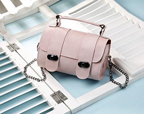 Eimer tasche handtasche Schulter Schräge Kreuz Die Kette der weiblichen einfachen mini-tasche Rosa