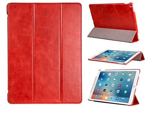 """FUTLEX - Custodia smart per iPad Pro (12.9"""") in vera pelle e in stile vintage - Rosso - Design esclusivo - Posizioni di supporto multiple - Funzione Standby/Riattiva automatica - Artigianale - 100% vera pelle - Massima protezione"""