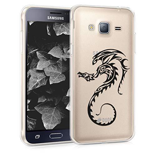 kwmobile Funda para Samsung Galaxy J3 (2016) DUOS - Carcasa de [TPU] para móvil y diseño de dragón en [Negro Transparente]