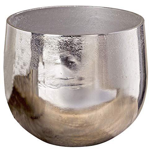 Vase Flaire Übertopf Aluminium silber Höhe 13 - 17 cm, Deko, Pflanze, Blumen, Haus, Wohnung (Höhe 17 cm)