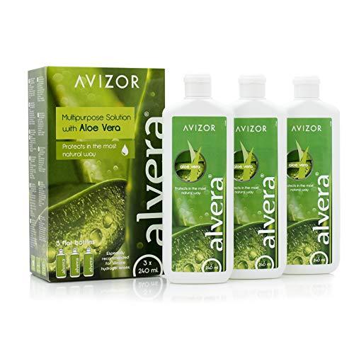 AVIZOR Alvera 3 × 240 ml Kontaktlinsenflüssigkeit in Etuis. Lösung zur Reinigung und Desinfektion aller Arten von weichen Kontaktlinsen.