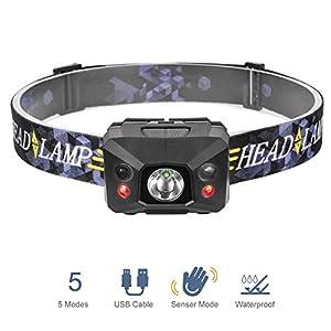Linkax Linterna Frontal LED Linterna de Cabeza USB recargable Luz Frontal Lampára de Cabeza 3 Modos Impermeable Para Camping Pesca Ciclismo Carrera Caza con Cable USB