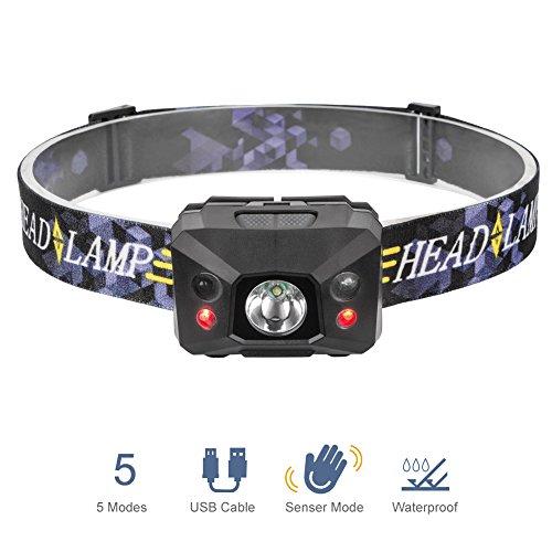 Linterna de Cabeza, Para Camping Pesca Ciclismo Carrera Caza con Cable USB