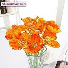 Flores Artificiales, Meiwo 10 Pcs Real Toque Látex Amapolas Artificiales Flores en Floreros Para Decoración de Boda / Decoración Para el Hogar / Parte / Graves Arreglo(Naranja)