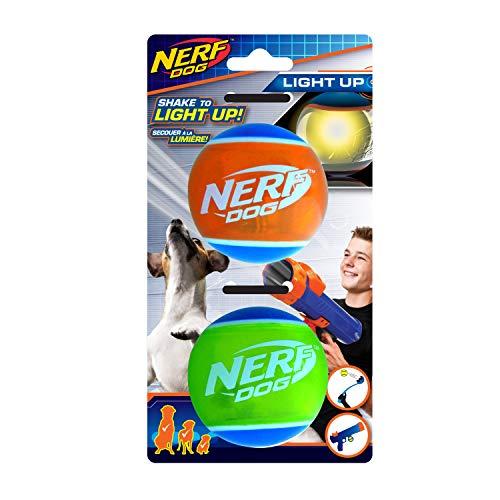 Nerf Dog Hundespielzeug, 6,4 cm, LED-TPR-Bälle, 2 Stück -