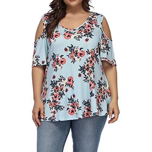 TEFIIR T-Shirt für Frauen, Mitgliedertag Sommer-Räumungsabwicklung,günstige Preisaktion Frauen Plus Size Casual O-Ausschnitt Kurzarm Printed Off Shoulder Top Geeignet für Freizeit und Dating -