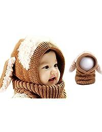 ARAUS-Bonnet Chaud Chapeau Cagoule Renard Bebe Enfant Echarpe Hiver Automne  en Laine Tricote a8335e9b383