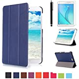 Samsung Tab S2 8.0 Cuero,Azul oscuro Ultra Slim Funda Case de Cuero para Tablet Samsung Galaxy Tab S2 8.0 SM-T710 SM-T715 Smart Cover Case Carcasa Piel con Stand Función + Protectores de Pantalla + lápiz óptic