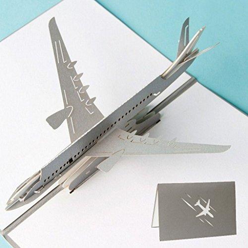 Dabixx 3D Pop Up Flugzeug Grußkarten Weihnachten Geburtstag Valentine Einladung 10x15cm