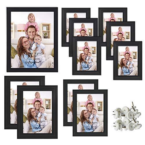 Giftgarden schwarzer Bilderrahmen Set für Bildergalerie Wanddeko Fotodisplay Geschenke Freunde