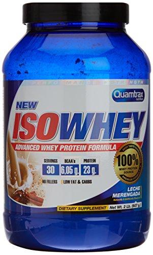 Quamtrax Nutrition Suplemento para Deportistas Isowhey, Sabor a Leche Merengada - 907 gr