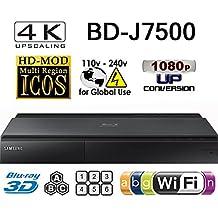 SAMSUNG BD-J7500 - 4K UPSCALING PLAYER- 2D/3D - Wi-Fi - Multi System Region Free Blu Ray Disc DVD Player - DUAL HDMI - PAL/NTSC - USB - 100-240V 50/60Hz + 6 Feet UHD HDMI Cable