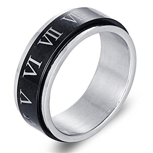 Bishilin Titan Ring Herren Punk mit Römische Ziffern Rund 8MM Partnerring Gothic Ring Schwarz Größe 65 (20.7) -