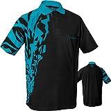 Harrows Rapide Dart Shirt–Atmungsaktiv mit Pocket–Schwarz & Aqua–Kleine bis 5X L verfügbar (5x l), Large
