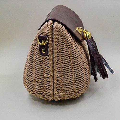LAHAUTE mini stroh Tasche für Damen und Mädchen süße Schultertasche kleine Cluthes Hellbraun