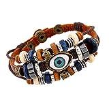ZhuiKunA Homme Bracelet Enrouler Tribal Réglable Convient Marron Clair2 22CM
