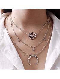024bcf15600e Jovono Bohemia Multi - Collar de capa con colgante de media luna para  mujeres y niñas