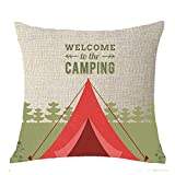 Nordic Summer Forest Adventure Wild Camping Zelt Überwurf Kissenbezug Kissen Fall Baumwolle Leinen Material dekorative 45,7x 45,7cm quadratisch, baumwolle, 3, 18x18