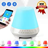 3-in-1 Cool Mist Humidifier Bluetooth Speaker Lamp, Smart Aroma Essential Oil Diffuser, VOSAKE Ultrasonic 300ml Mist Humidifier with 7 Color Lights Changing, Bluetooth Aroma Humidifier, Waterless Auto Shut-off & Timing, Alarm, 1-6 Hour Timer Setting, Music play with TF Card, 3.5mm Audio Jack Input, App Control for Yoga Travel Home Bedroom