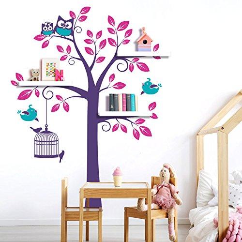 Wandora W1340 Wandtattoo 3-farbiger Baum mit Vögeln & Eulen pink / türkis / violett (BxH) 135 x 200 cm
